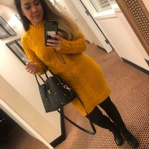 Forever 21 Mustard cable knit sweater dress SZ: M